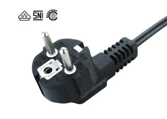 Black IEC C13  Power Cord , Indonesia 3 Pin Ac Power Cord Customized Length