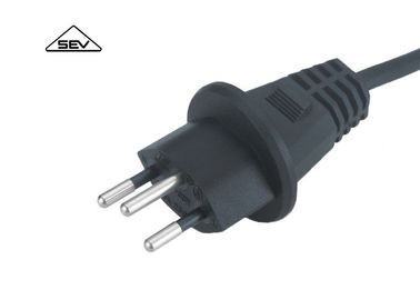 Black European Power Cord SEV Approval Swiss Power Cable With Sweden Power Plug