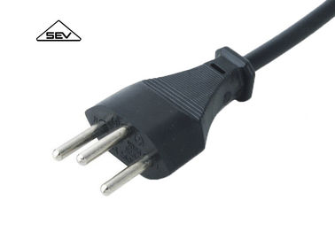 ESTI Approval Switzerland Power Cord , SEV 1011 10A 250V Power Cord 3 Pin Plug