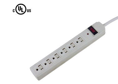 White Electrical Power Strip Multi Socket Extension Cord With Red Working LED Light