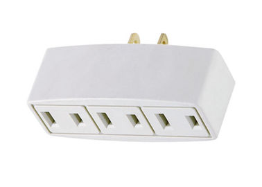 3 Outlet Wall Tap AC Power Plug Adapter White Non-grounded With 2 Prong Plug