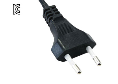 PVC / Copper 250V AC 2 Prong Power Cord , Black Korea Power Supply Cable